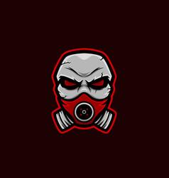 masked skull mascot logo corona skull mascot vector image