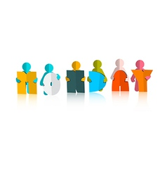 Monday Colorful Title - Paper Cut People and vector image