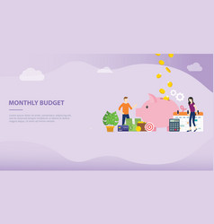 monthly budget planning concept with saving piggy vector image