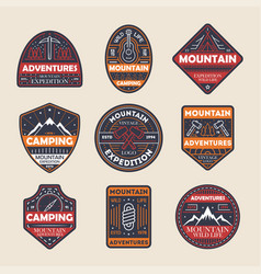 Mountain adventures vintage isolated label set vector