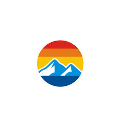 mountain icon colored logo vector image