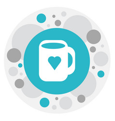 Of heart symbol on mug icon vector