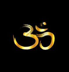 om aum gold brush symbol golden grunge style vector image