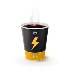 paper cup coffee like a battery metaphor vector image
