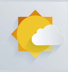 Paper sun and cloud background vector