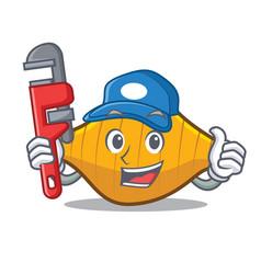 Plumber conchiglie pasta mascot cartoon vector