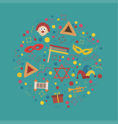 purim holiday flat design icons set in round shape vector image