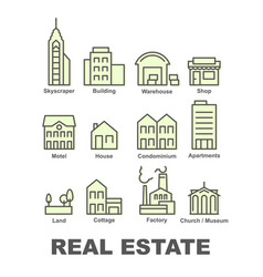 real estate icons property and investment vector image