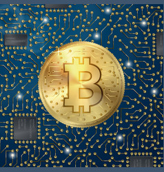 realistic bitcoin symbol on digital pattern vector image