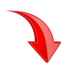 Red down arrow 3d shiny sign vector