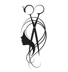scissors and girl symbol vector image