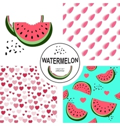 Seamless pattern with watermelons and dots vector image