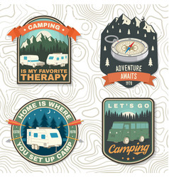 Set rv camping badges patches concept vector