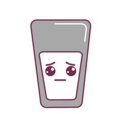 Silhouette kawaii cute sad juice glass vector