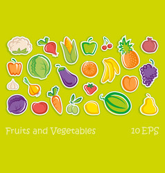 sketches of fruit and vegetables stickers vector image