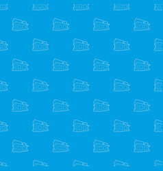 small house pattern seamless blue vector image