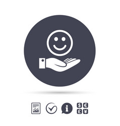 Smile and hand sign palm hold happy face symbol vector