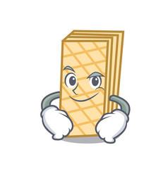 Smirking waffle character cartoon style vector