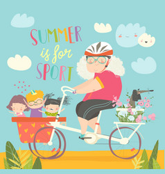 sporty grandmother riding bicycle with her vector image