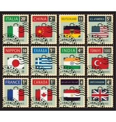 stamps with flags different countries vector image