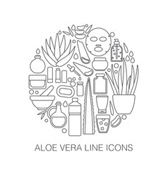 Thin line icon set - aloe vera plant and products vector
