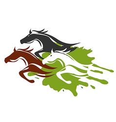 Three running horses vector