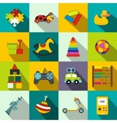 Toys flat icons set vector