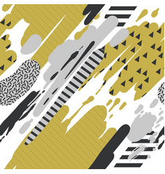 Trendy seamless pattern with brush strokes memphis vector