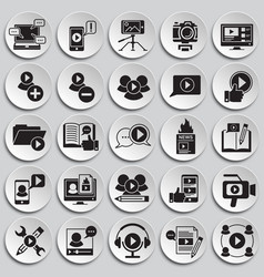 Video blog icons set on plates background for vector