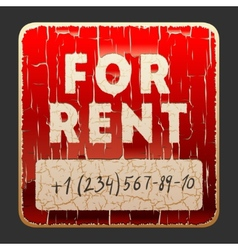 Vintage sign with inscription for rent vector