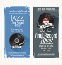 Vinyl record shop retro grunge banner 2 vector