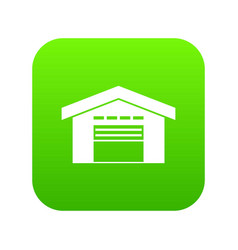 warehouse icon digital green vector image