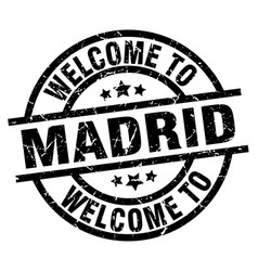 Welcome to madrid black stamp vector