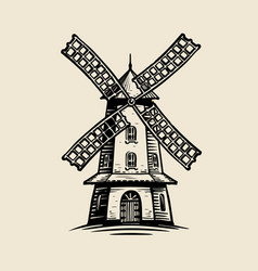 windmill logo or label agriculture farm bakery vector image