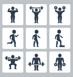 workout sport icons set vector image