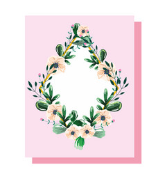 wreath with flowers and leaves floral watercolor vector image