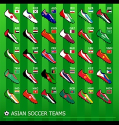 Asian soccer teams vector image vector image