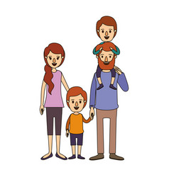 color image caricature family parents with boy on vector image