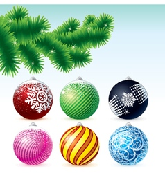 xmas baubles collection with fir tree branch vector image vector image