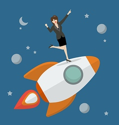 Business woman standing on a rocket vector image vector image