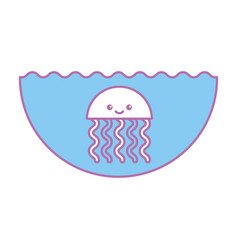 cute jellyfish sealife icon vector image