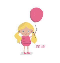 Cute little baby girl with balloon vector