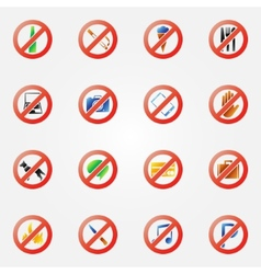 Restriction icons or symbols set vector image