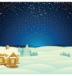 Winter landscape cartoon vector