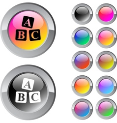 ABC cubes multicolor round button vector image vector image
