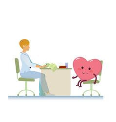 doctor with healthy cheerful heart symbol cartoon vector image