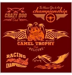 Sports racing emblem - set vector image