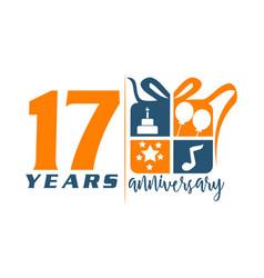 17 year gift box ribbon anniversary vector
