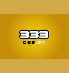 333 number numeral digit white on yellow vector