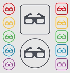 3d glasses icon sign symbol on the Round and vector image